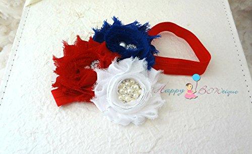 4th of July Trio Shabby Cluster headband, Independence Day Headband, Baby Girl 4th of July Headband