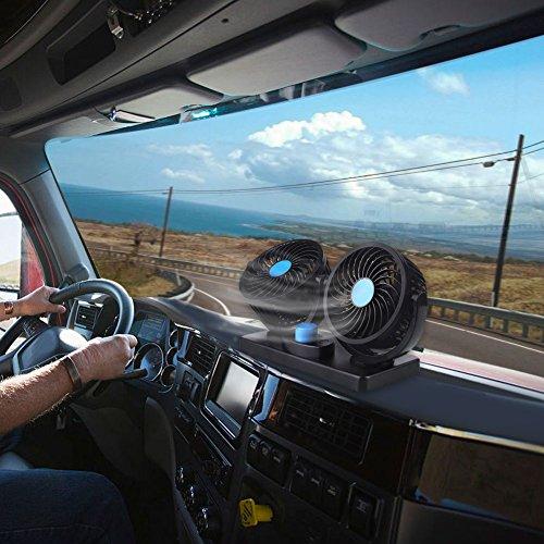 Duoying DC12V Car Dash Acondicionador de Aire de Doble Cabezal Enfriador Enfriador Ventilador de Dos velocidades portátil