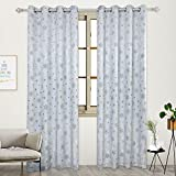 2 Panels Snow Jacquard Grommet Curtains Room Darkening Thermal Insulated Window Drape for Infant Room(52″Wx95″L,Greyish Blue)