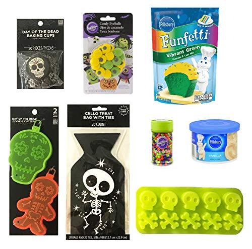Halloween Baking and Treat Kits! Halloween Cupcake Mix, Halloween Cookie Cutters, Halloween Treat Bags - Halloween Party Supplies! (Day of the Dead Sugar Skull Baking Kit #1) -