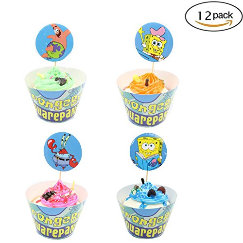 Cupcake Toppers Wrappers Birthday Party Supplies,SpongeBob SquarePants Cake Decoration Baby Shower for for Kids Birthday Party -Set of 12