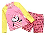 Happy Cherry Kids Girls Cartoon Swimsuit Long Sleeve Two Piece High Collar UPF 50 Durable Summer Kids Diving Suit 8-9T Pink