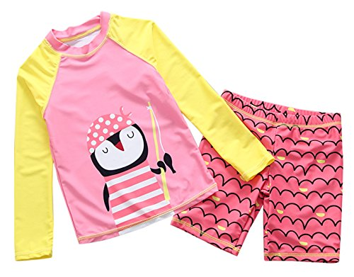 Little Girls Two Piece Swimwear Set Rash Guard Shirt Jammer Trunks Sun Protective Cartoon Surfing Weisuit 5-6T Pink ()