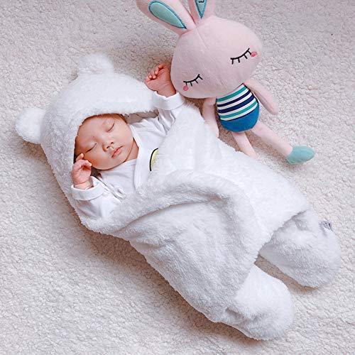 (Newborn Baby Winter Wrap Swaddle Blanket, Cute Unisex Receiving Blanket for Newborn Baby Boy & Girl, Thick Wearable Blanket for Winter, Berber Fleece & Cotton, 0-3 Months, White)
