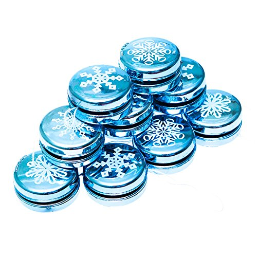 Christmas Yo Yos - 1 Dozen Mini Metallic Snowflake Yo-yos - Christmas Party Supplies by Fun Express