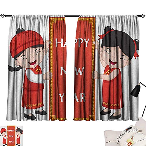 OUTDRART Shades Window Treatment Valances Curtains Chinese New Year,Cheerful Asian Children in Traditional Costumes Holding a Celebration Sign, Multicolor 54