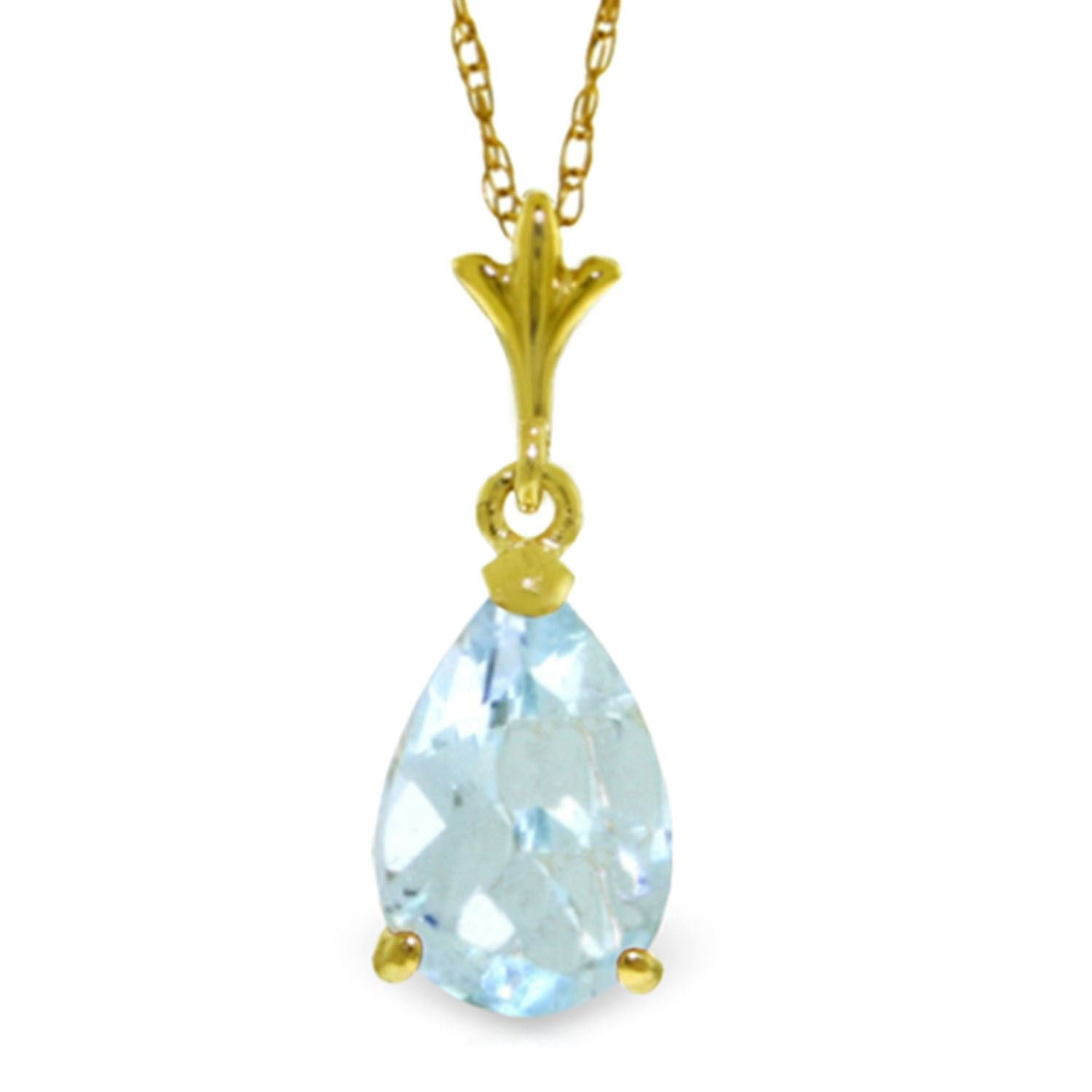 ALARRI 1.5 Carat 14K Solid Gold Duration Of Love Aquamarine Necklace with 18 Inch Chain Length