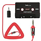 BESDATA Car Cassette Player Adapter for iPod, iPad, iPhone, Cell Phone, MP3, Mobil Devices, 3 Feet Long Cable with 3.5mm Male Adapter & 2.5mm Male Adapter (Call + Music, Black)