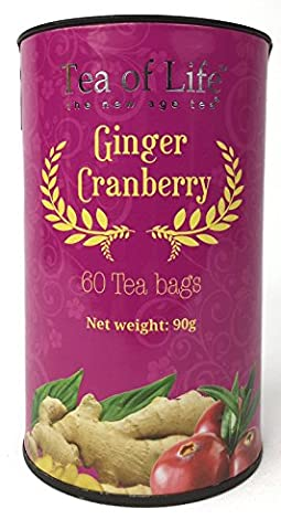 Tea of Life Chai Tea Jumbo Cannister, 60 Teabags (Ginger Cranberry) - Cranberry Recipes