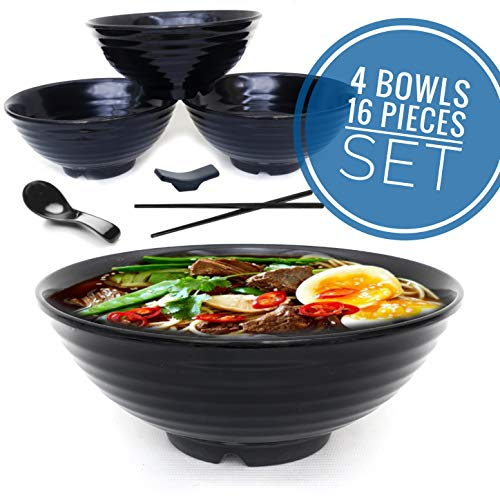 4 set (16 piece) Ramen Bowl Set, Asian Japanese soup with Spoons Chopsticks and Stands, Restaurant Quality Melamine, Large 32 oz for Noodles, Pho, Noodle, Udon, Thai, Chinese dinnerware ... (4, black)
