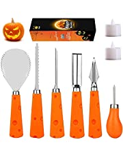 Pumpkin Carving Kit for Family 6 Easy Halloween Pumpkin Carving Tools Set 2 LED Candles