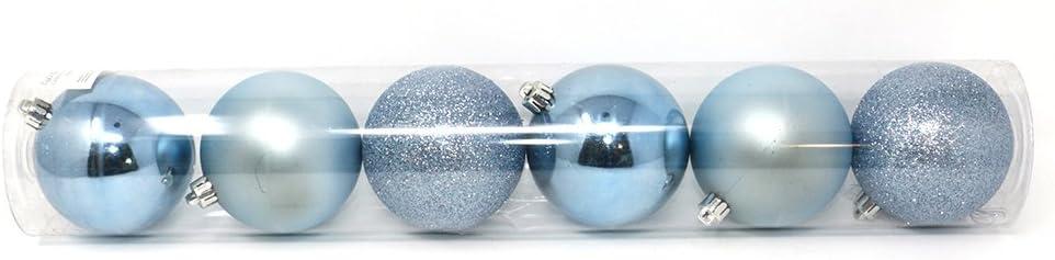We Love Christmas Tubo 6 Palline di Natale di plastica 10 cm Azzurro