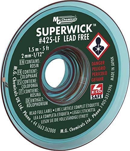 MG Chemicals Desoldering Braid #3 Fine Braid Super Wick for Lead Free Solder, 0.075