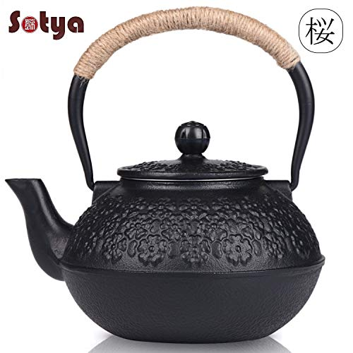 - Cast Iron Teapot, Sotya Tetsubin Japanese Tea Kettle (1200ml, Black)