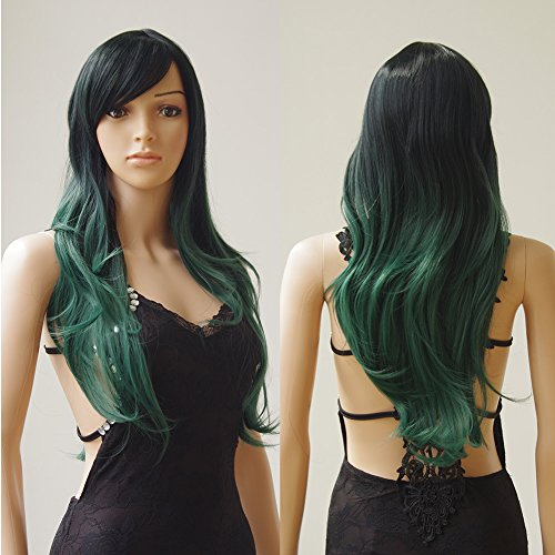Resistant Colour (28'' / 70cm Synthetic Wig 2 Tone Ombre Color Japanese Kanekalon Fiber Heat Resistant Full Wig with Bangs Long Curly Wavy Full Head+Stretchable Elastic Wig Net for Women Girls (Green Black Mix))