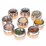 Nellam Spice Rack Magnetic Storage Jars for Spices - 9pcs Stainless Steel and Copper - Bronze Gold Colored Kitchen Containers with Clear Top - Organizer Tins Kit include a Measuring Spoon Set