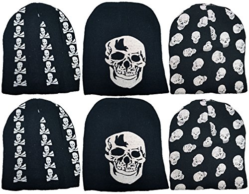 Seven Of Nine Costume Diy (Set of 6 Skull Caps! Unique Edgy Black and White Skull Pattern Designs for Any One Who Wants to Stay Warm While Still being Cool! 6 Skull Caps!)