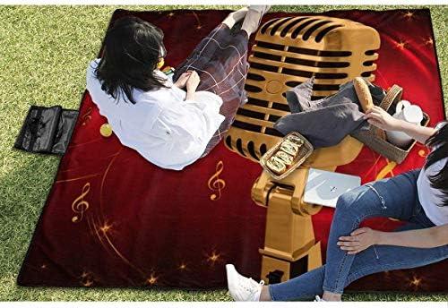 N/A - Coperta da picnic per esterni, impermeabile, con microfono astratto, a prova di sabbia, per campeggio, escursionismo, erba, viaggi