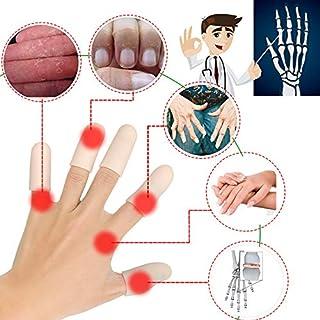 Gel Finger Cots, Finger Protector Support(14 PCS Short) New Material Finger Sleeves Great for Trigger Finger, Hand Eczema, Finger Cracking, Finger Arthritis and More. (Nude)
