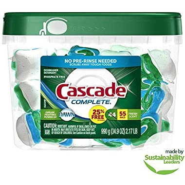 Cascade Complete All-in-1 ActionPacs Dishwasher Detergent, Fresh Scent, 55 Count
