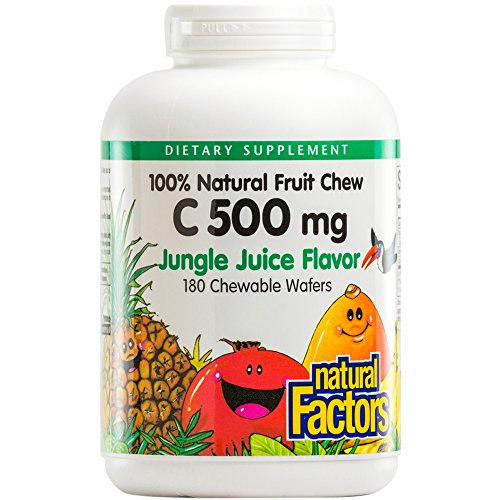 - Natural Factors - Vitamin C 500mg, 100% Natural Fruit Chew, Jungle Juice, 180 Chewable Wafers
