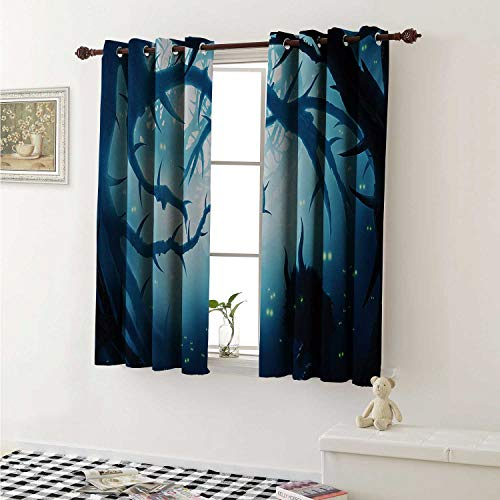 Mystic Room Darkening Wide Curtains Animal with Burning Eyes in The Dark Forest at Night Horror Halloween Illustration Window Curtain Drape W108 x L72 Inch Navy White
