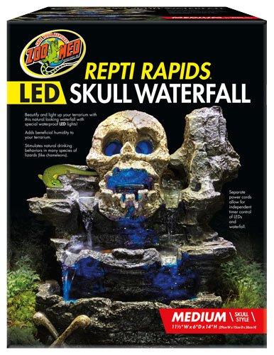 Waterfall Terrarium Reptile (Zoo Med Repti Rapids LED Skull Waterfall Natural Rock Reptiles Terrariums Medium)