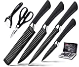 Knife Set, Stainless Steel Knife Set with Black – 6-Piece Kitchen Knives Set Chef Knife Set, Steak Knives, Carving knife, fruit knife,Scissors Pizza Knife & Peeler – Best Cutlery Set Gift ERERRICH