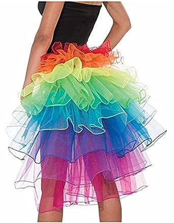 DWE Dancing Skirt,Tutu Layered Organza Lace Rainbow Bustle Skirt Dress  Ruffle Tiered Clubwear: Amazon.co.uk: Clothing