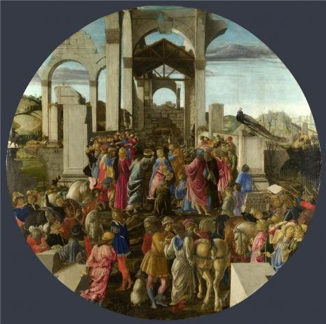 Paradise Birds Of Costume Dance (Oil Painting 'Sandro Botticelli-The Adoration Of The Kings,1470-5' Printing On High Quality Polyster Canvas , 8x8 Inch / 20x20 Cm ,the Best Home Theater Decoration And Home Gallery Art And)