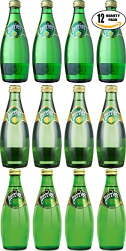 Perrier Sparkling Mineral Water, Variety Pack Special! Natural, Lemon, Lime, 11oz Glass Bottle (12-Pack Variety, Total of 132 Fl Oz)