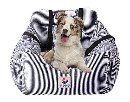 bluee Dog Seat Carrier Pet Travel Safety Car Seat Cover Booster Seats for Dog with Storage Pocket