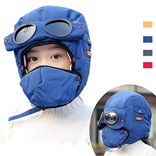 Winter Windproof Trooper Trapper Hat for Kids, Toddler Boy Girls Snow Ski Aviator Earflaps Cap with Goggles, Fleece Lined, ()