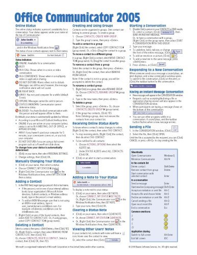 Office Communicator 2005 Quick Reference Guide (Cheat Sheet of Instructions, Tips & Shortcuts - Laminated Card) ()