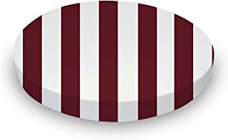 product image for SheetWorld Fitted 100% Cotton Percale Oval Crib Sheet, Fits Stokke Sleepi 26 x 47, Burgundy Stripe, Made in USA