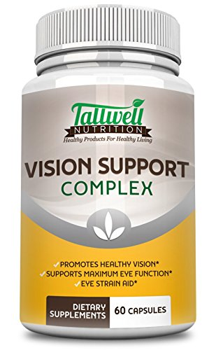 Vision Support Complex - Maximum Strength- Lutein Bilberry Taurine Lycopene Quercetin Minerals Best Vitamins for Eye Health Supplement from Tallwell Nutrition 30 Day Complete Supply Discount