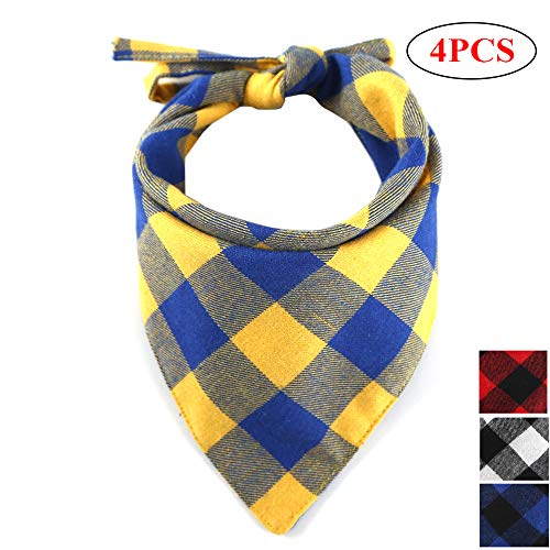 Dog Bandana Scottish Plaid Collar 4PCS,Reversible Triangle Bibs Head Scarf Pack, Christmas Holiday Lace Reversible Printing Kerchief Accessories for Puppy Medium Large (Black+Red+Yellow+Blue)