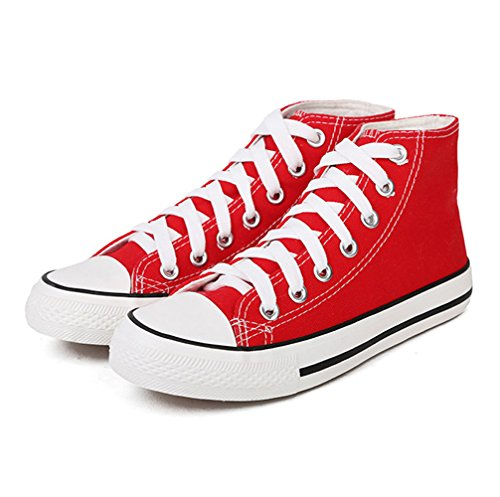 Magone Womens High Top Classic Canvas Fashion Sneaker red 9 (Shoes High Canvas)