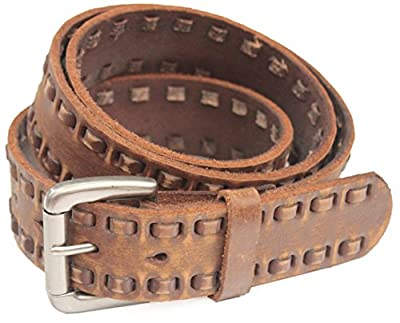 9480V - Men's Casual Vintage Double Row Lacing Full-grain Leather Belt