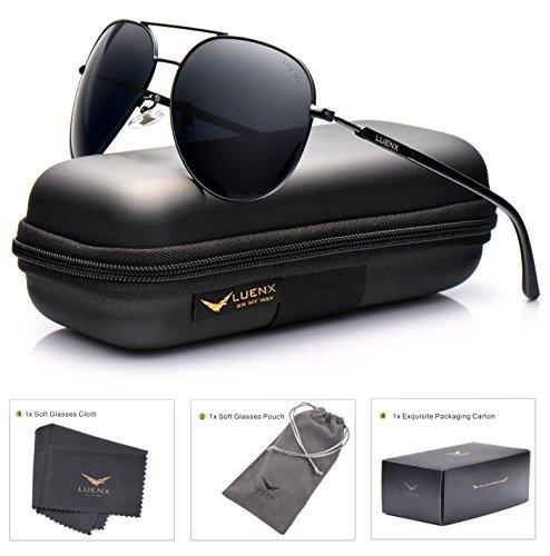 LUENX Aviator Sunglasses Mens Women Polarized Black Lens Bla