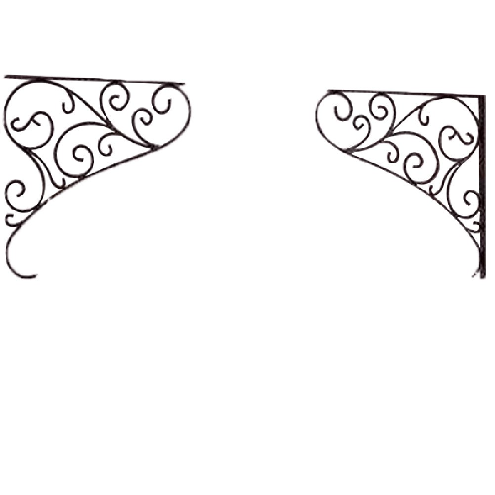 A.B Crew Pair of All-purpose Floral Pattern Cast Iron Decorative Wall Shelf Bracket Wall Corner Decor by A.B Crew