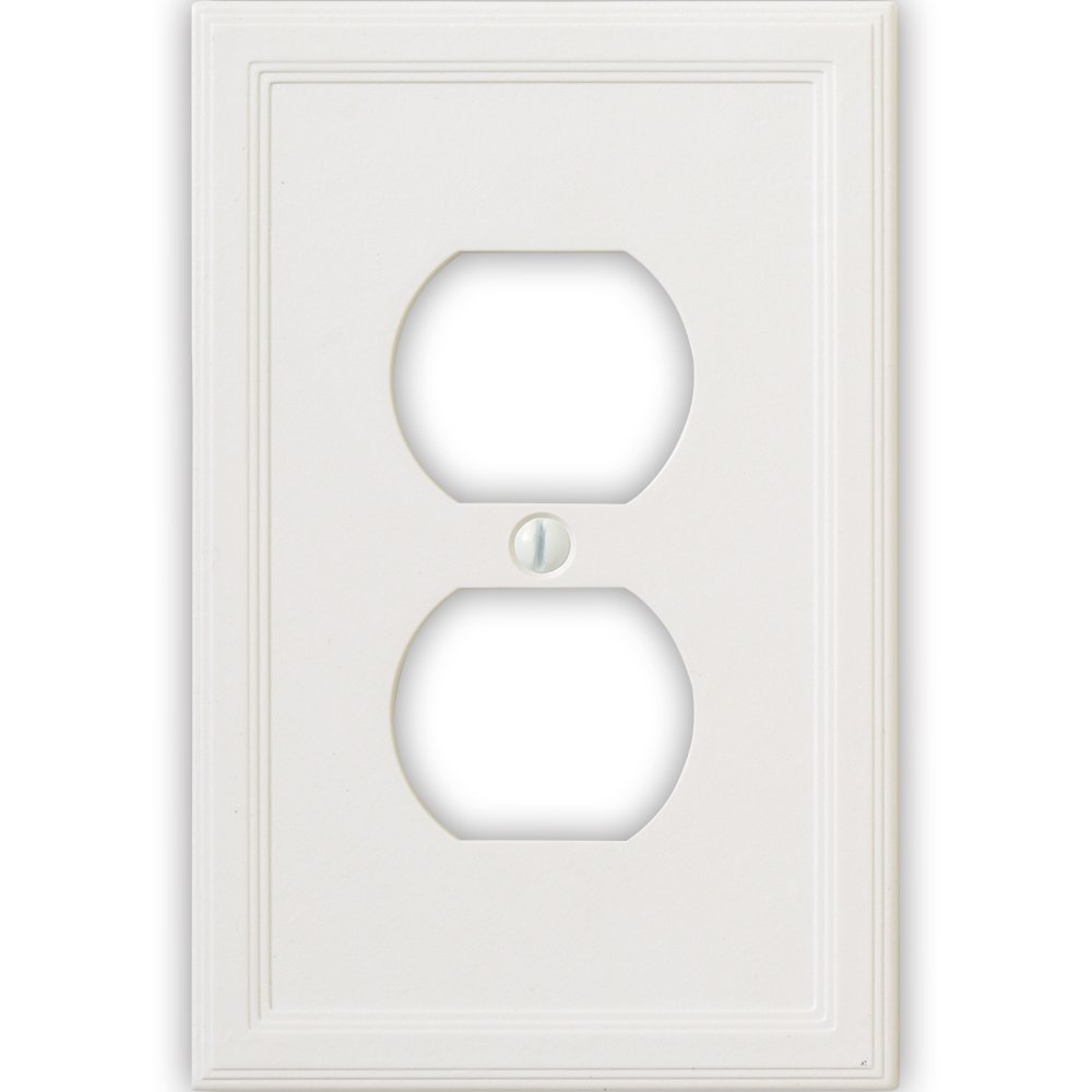 Questech Cornice Insulated Decorative Switch Plate/Wall Plate Cover - Made in the USA (Single Duplex - 6 Pack, White)