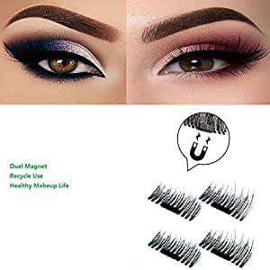 False Magnetic Eyelashes by Potou, 0.2mm Ultra-thin 3D Fiber for Natural Look, Cruelty Free, Reusable Perfect for Deep Set Eyes & Round Eyes, 1 Pair 4 Pieces