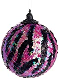 Allstate Pink and Black Iridescent Animal Print Glitter Christmas Ball Ornament, 4""