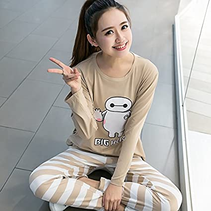 29e7b280b2 Image Unavailable. Image not available for. Color: MH-RITA Home Wear Clothes  For Women Autumn Winter Long Shorts Pajamas Sets ...