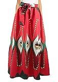 La moriposa Women Fashionable African Print Floral Long Skirt High Waist Elastic Bowknot Dress Ball Gown with Pockets