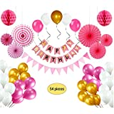 Birthday Decorations for Girls, Pink Birthday Decoration Pack with Happy Birthday Bunting, 13pcs Triangle Bunting Flags, 6pcs Paper Fan Flowers, 2pcs Honeycomb Balls, 21pcs Party Balloons - Pink Theme