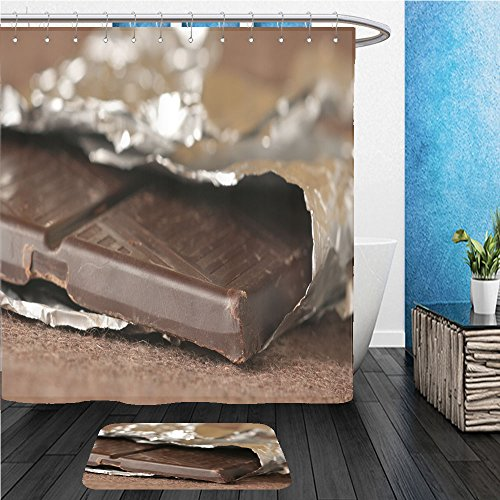 Beshowereb Bath Suit: ShowerCurtian & Doormat dark chocolate bar in silver foil on brown canvas 39058324 (Foil Divi Copper)