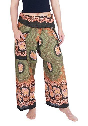 (Lannaclothesdesign Women's Thai Fisherman Pants Yoga Trousers Wide Legs Pants (One Size, Green Elephant Rose))