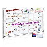 Magnetic Refrigerator Calendar, Newcomdigi Dry Erase Weekly Menu Meal Planner Organizer Note Black Flexible Chalkboard Black Fluorescent Board 16 inch